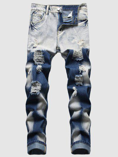 Faded Wash Distressed Ripped Jeans - Deep Blue 36