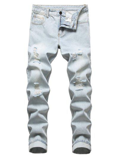 Ripped Light Wash Jeans - Light Blue 40