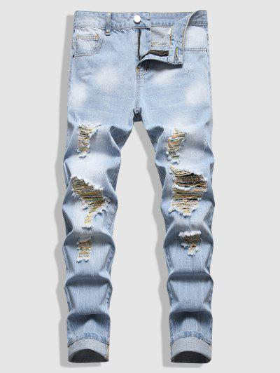 Scratch Destroy Wash Jeans - Light Blue 34