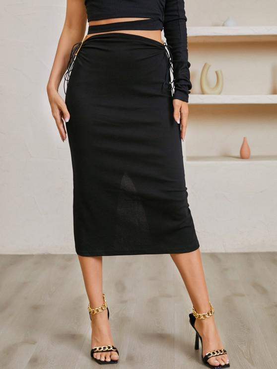 buy U-bar Jersey Tie Split Back Midi Skirt - BLACK M