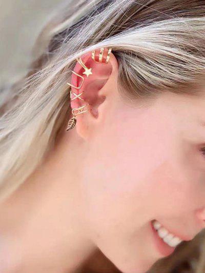 5 Stück Sterne Blatt Charme Ohr Manschetten Set - Golden