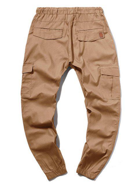 fancy ZAFUL Solid Color Pocket Drawstring Cargo Pants - CAMEL BROWN M Mobile