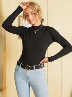 Basic Mock Neck Knitwear - Black