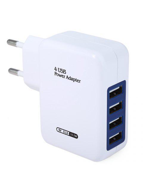 Cargador de Pared Enchufe de la UE de 4 Puertos USB Adaptador de Carga por Viajes Inicio - Blanco Enchufe EU Mobile
