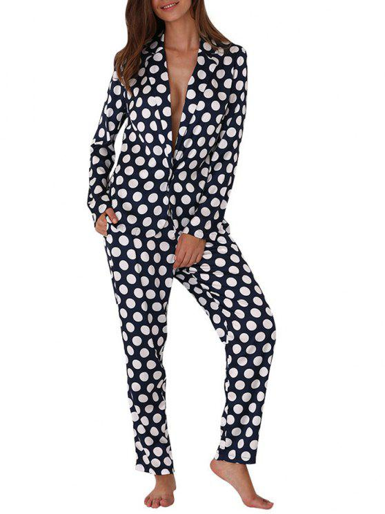 Pijama Suave con Estampado de Lunares Allover - Azul M