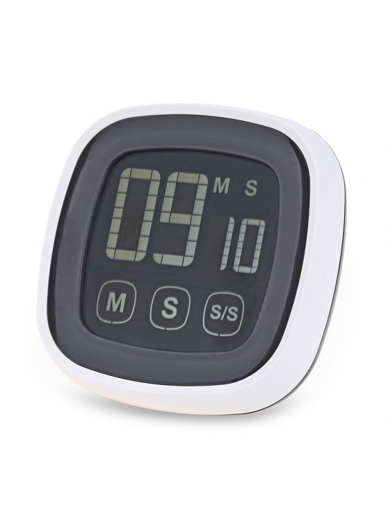 lady TS - BN54 Touch Screen Kitchen Timer Buzzer Alarm with LED Backlight - GREY AND WHITE