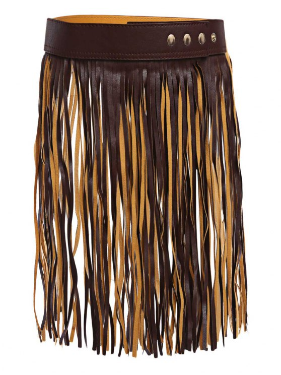 womens Long Tassel Skirt PU Belt - DEEP BROWN