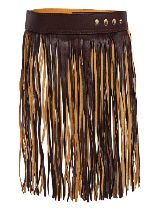 womens Long Tassel Skirt PU Belt - DEEP BROWN