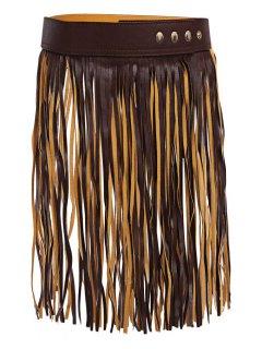 Long Tassel Skirt PU Belt - Deep Brown