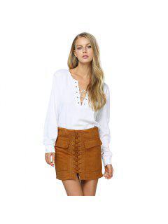 Fashionable Criss-cross Pocket Design Bodycon Pure Color Women Dress - Yellow Ocher L