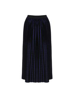 Old Classical  Style Elastic Waist Pleat Pattern Soft Warm Skirt For Ladies - Purplish Blue