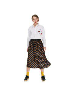 Trendy Pleated Dot Print Velvet Skirt For Women - Blue And Golden