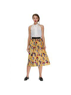 Stylish Pleated Floral Print Velvet Skirt For Women - Yellow