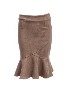 Chic Mid Waist Flounced Faux Suede Women Bodycon Skirt - Light Khaki L