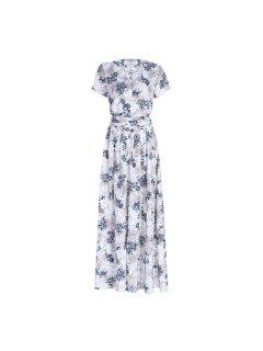 Short Sleeve Maxi Long Flowy Tea Dress - White Xl