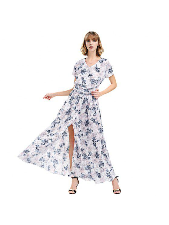affordable Short Sleeve Maxi Long Flowy Tea Dress - WHITE S