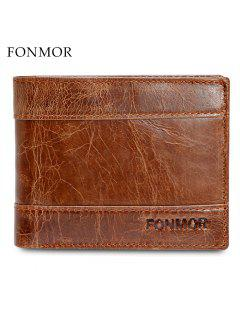 FONMOR Men Wallet Short Bifold Genuine Leather Casual Male Coin Pocket - Brown