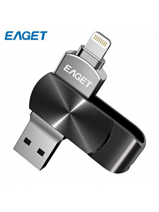 EAGET i66 USB Flash Drive 8 Pin USB3.0 OTG Rotary Design Memory Stick for iPhone 7 Plus / 7 / SE / 6S Plus / 6S / 6 / 5S / 5C / 5 - Negru 128GB