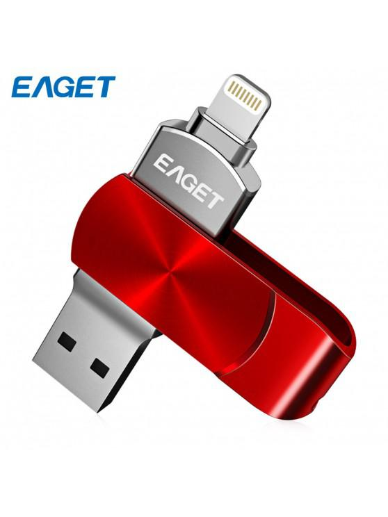 best EAGET i66 USB Flash Drive Type-C USB3.0 OTG Rotary Design Memory Stick for iPhone 7 Plus / 7 / SE / 6S Plus / 6S / 6 / 5S / 5C / 5 - RED 128GB