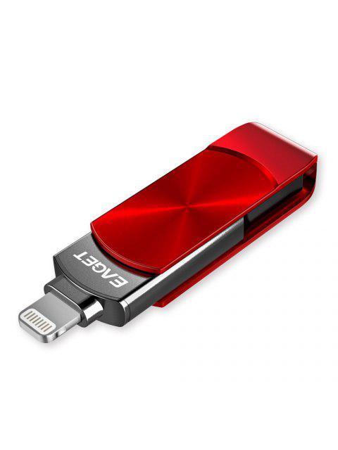 Clé USB EAGET i66 de type C, clé USB 3.0 rotative Design OTG pour iPhone 7 Plus / 7 / SE / 6S Plus / 6S / 6 / 5S / 5C / 5 - Rouge 128GB Mobile