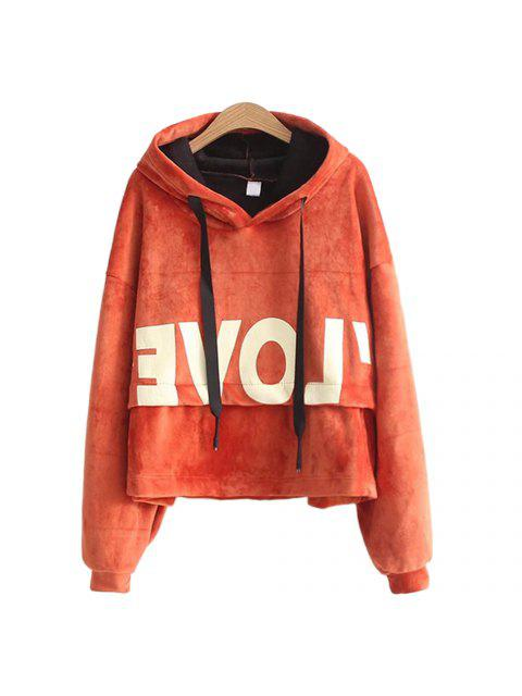 hot New Lady'S Two Sided Velvet Mosaic of The Letter Hoodie - JACINTH ONE SIZE Mobile