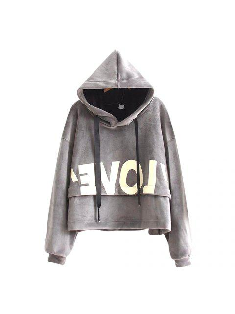 online New Lady'S Two Sided Velvet Mosaic of The Letter Hoodie - GRAY ONE SIZE Mobile