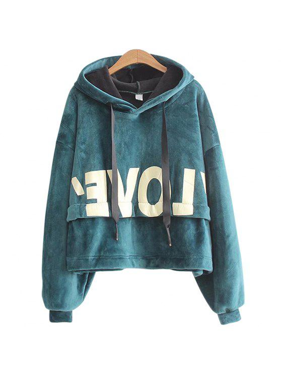 outfit New Lady'S Two Sided Velvet Mosaic of The Letter Hoodie - GREEN ONE SIZE