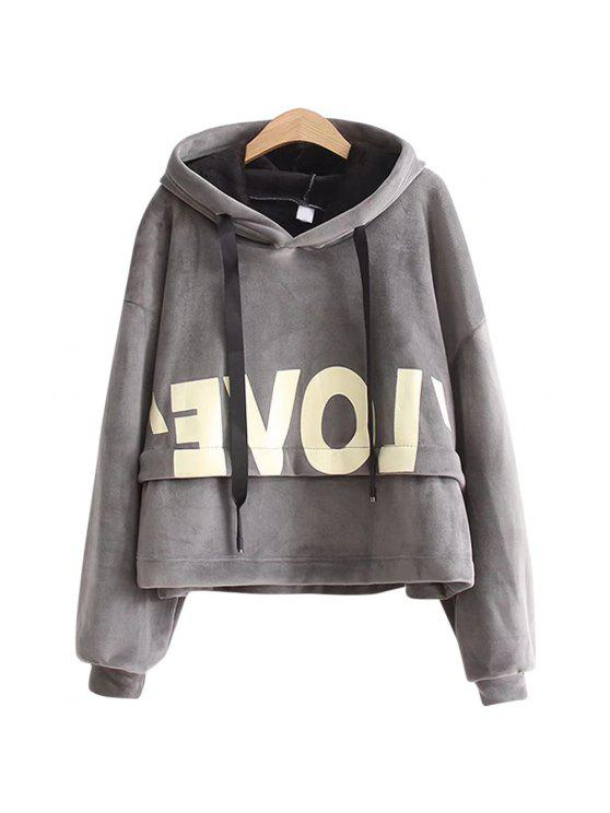 online New Lady'S Two Sided Velvet Mosaic of The Letter Hoodie - GRAY ONE SIZE