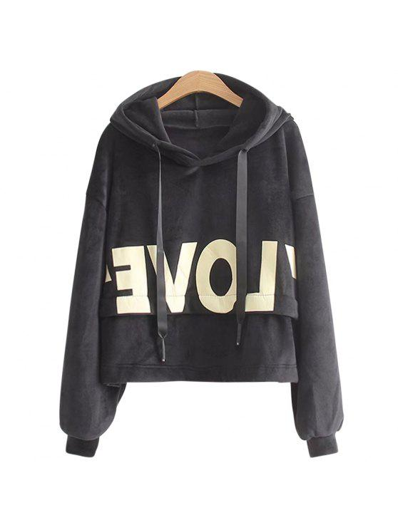 best New Lady'S Two Sided Velvet Mosaic of The Letter Hoodie - BLACK ONE SIZE