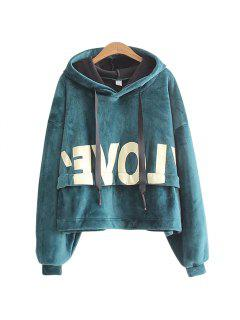 New Lady'S Two Sided Velvet Mosaic Of The Letter Hoodie - Green