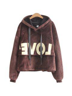 New Lady'S Two Sided Velvet Mosaic Of The Letter Hoodie - Coffee