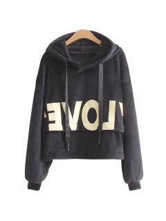 New Lady'S Two Sided Velvet Mosaic Of The Letter Hoodie - Black