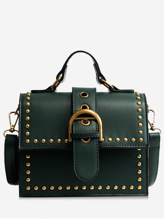 outfit Rivets Buckled Crossbody Bag - GREEN