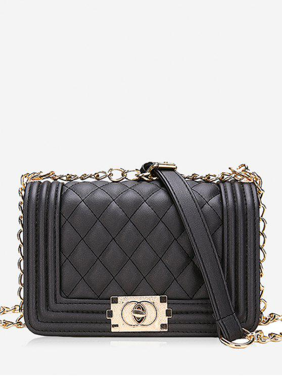 fancy Diagonal Lattice Chain Shoulder Bag - BLACK