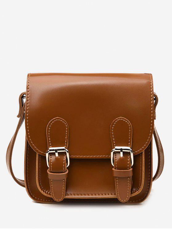 outfit Flap Double Buckles PU Leather Crossbody Bag - BROWN
