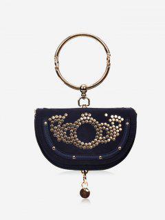 Round Ring Studs Crossbody Bag - Blue
