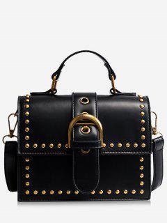 Rivets Buckled Crossbody Bag - Black