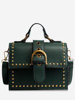 Rivets Buckled Crossbody Bag - Green