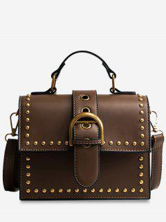 Rivets Buckled Crossbody Bag - Khaki
