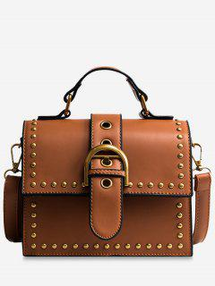 Rivets Buckled Crossbody Bag - Brown