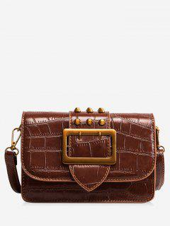 Buckled Studed Crossbody Bag - Brown
