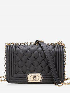 Diagonal Lattice Chain Shoulder Bag - Black