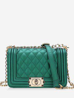 Diagonal Lattice Chain Shoulder Bag - Green