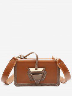 Color Blocking Flap Crossbody Bag - Brown