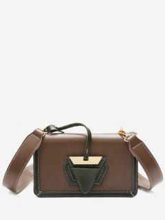 Color Blocking Flap Crossbody Bag - Coffee Color