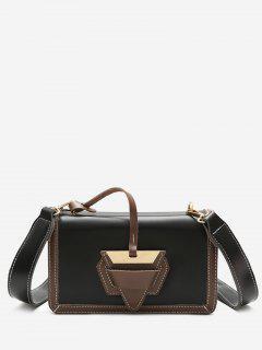 Color Blocking Flap Crossbody Bag - Black