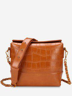 PU Leather Embossed Crossbody Bag - Brown