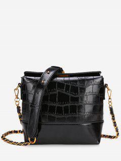 PU Leather Embossed Crossbody Bag - Black