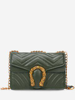 Stitching Flap Metal Crossbody Bag - Green