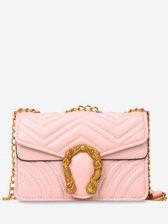 Stitching Flap Metal Crossbody Bag - Pink